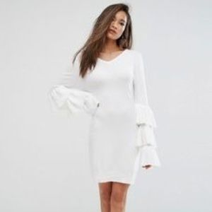 ASOS White Dress with Layered Bell Sleeve